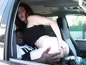 Red haired hooker with big boobs gives a blowjob in the car and gets her twat blacked