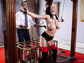 Tied up busty hooker Veronica Avluv enjoys hardcore DP fisting