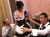 Maid in sexy uniform Tammie Lee gets double penetrated and jizzed