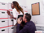 Yummy ebony secretary Ana Foxxx gives a blowjob and gets fucked in the office