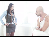 Sexy chick in lingerie and stockings Bony Clyde gets fucked by bald headed dude