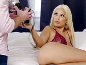 Man eating blond seductress Bridgette B gets her big boobs jizzed