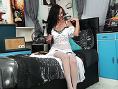 Lonely housewife Cassie Clarke is masturbating her wet punani