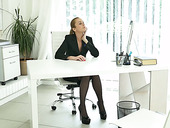 Lecherous secretary Nica is masturbating pussy in the office