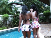Libidinous Thai teens are dildo fucking pussies by the poolside