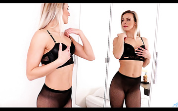 Horny Czech middle aged woman Bianca Ferrero is toying her pussy in pantyhose