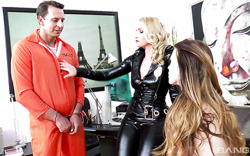 Prisoner fucks two super hot and insatiable hookers and cums on their faces