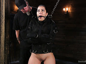 Slut with fake big boobs Cassandra Cain is punished in the BDSM room