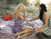 Two voluptuous babes are licking each others delicious pussies on a picnic