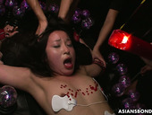 Asian hooker Anna Sakura gets her pussy punished by several dudes