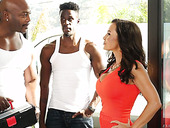 Bodacious white milf Lisa Ann has an affair with two black studs