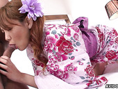 Asian whore in kimono Rei gives a great blowjob and gets her hairy muff creampied