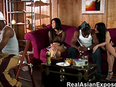 Three black guys fuck sex-appeal Asian and European hookers