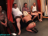 Blond harlot serves several hot blooded and insatiable dudes