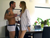 Beautiful angel Belle Claire enjoys passionate morning sex in the kitchen