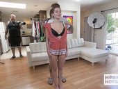 Young and sex-starved chick Lana Rhoades puts on whorish outfits