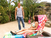 Lustful red head Sophie Dee seduces one dude and fucks him by the poolside