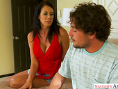 Lubricious step mommy Reagan Foxx is eager for stepson's big dick
