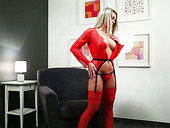 Blond housewife in red lingerie and stockings Queenie masturbates pussy