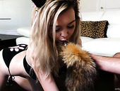 Pretty hot chick in kitty outfit Lexi Lore gives her head in great POV clip