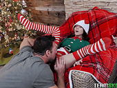 Kinky dude fucks lovely petite chick Jasmine Grey under Xmas three