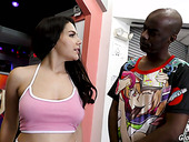 Italian beauty Valentina Nappi goes wild in the glory hole room