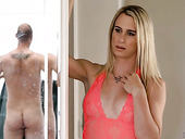 Awesome blond shemale Nikki Vicious is fucked by one horny bisexual dude