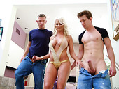 Lewd blond milf London River hooks up with two nextdoor dudes