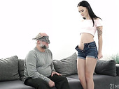 Old fart enjoys young body and tight teen pussy of sexy brunette Sasha Sparrow