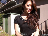 Lustful Japanese babe Maki Hojo is playing with her hairy muff outdoor