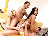 Seductive chick Angelica Heart takes part in crazy group sex