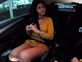 Spanish whore Julia de Lucia gives a blowjob in the car and gets nailed