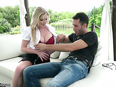 Man eating blond seductress Georgie Lyall gives a titijob and gets screwed