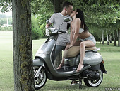 Romantic date ends up with passionate and crazy anal sex in the garden