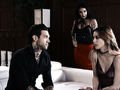 Two tattooed busty sluts fuck one dude and enjoys snowballing
