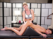 Skilled masseuse India Summer licks pussy 69 style pose on the massage table