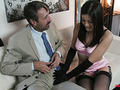 Man eating bitch Kendra Spade gives a blowjob to her elder sugar daddy