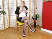 Juggy British milf Tracey Hein gets naked and masturbates wet hungry hole