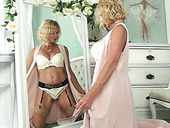 Blond cougar in sexy lingerie Molly Maracas admires herself and masturbates