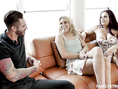 Naughty chick Chanel Grey is fucked by sister's boyfriend while playing naked twister