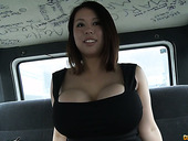 Juggy Asian hoe Tigerr Benson flashes her big boobs and gets fucked in the back seat