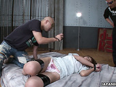 Two Asians fuck tied up arrested babe Sayaka Fukuyama and cum in her muff