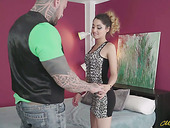 Huge dude with tattooed body drills wet cunt and deep throat of slender chick Scarlett