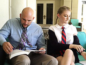 Petite student in short kilt skirt Melody Marks hooks up with bald headed teacher