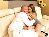 Hot blooded housewife Blue Angel gets intimate with huge bald headed dude