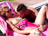 Lustful chick Arya Fae hooks up with her neighbor by the poolside