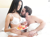 Stunning hottie Eliza Ibarra is making love with her boyfriend early in the morning