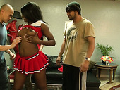 Sexy ebony cheerleader Kay Love hooks up with several white dudes