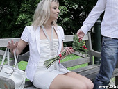 Bald headed dude fucks seductive blond chick Hanna on the first date