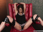 Several guys examine pussy of naughty tied up Japanese chick Aoi Miyama